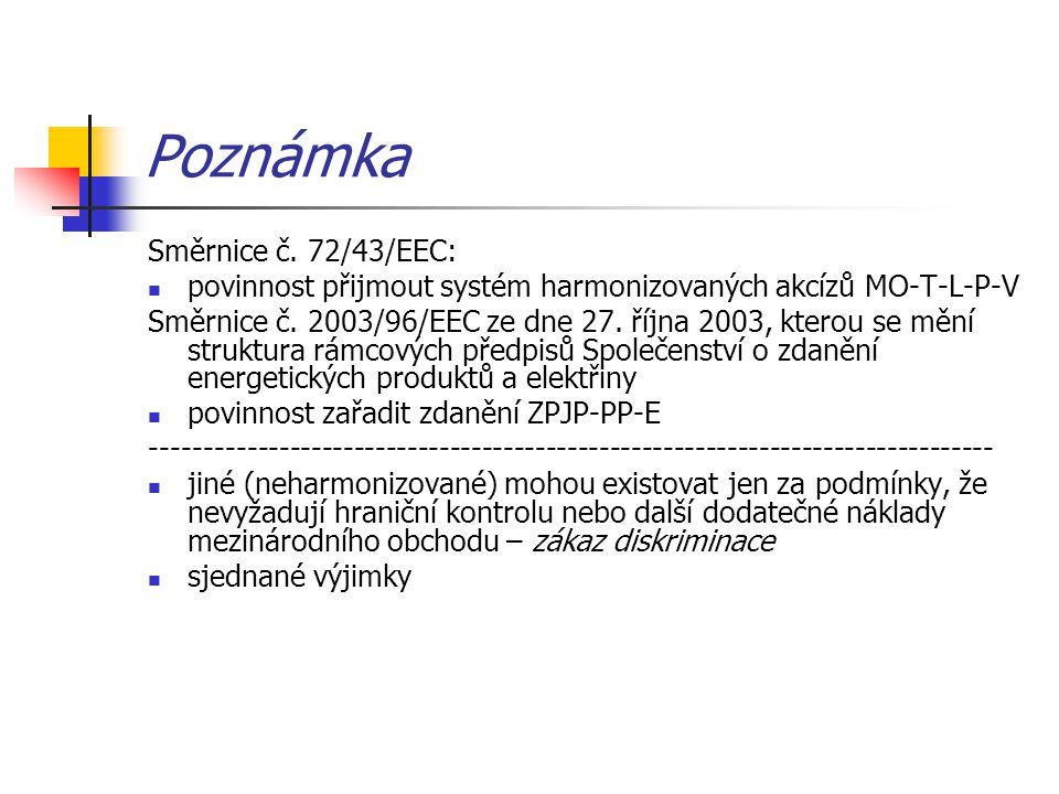 Poznámka Směrnice č. 72/43/EEC: povinnost přijmout systém harmonizovaných akcízů MO-T-L-P-V Směrnice č. 2003/96/EEC ze dne 27. října 2003, kterou se m