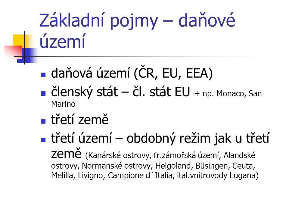 Základní pojmy – daňové území daňová území (ČR, EU, EEA) členský stát – čl. stát EU + np. Monaco, San Marino třetí země třetí území – obdobný režim ja