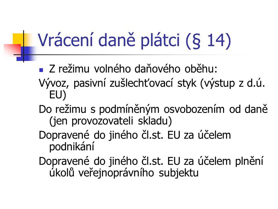 Vrácení daně plátci (§ 14) Z režimu volného daňového oběhu: Vývoz, pasivní zušlechťovací styk (výstup z d.ú. EU) Do režimu s podmíněným osvobozením od