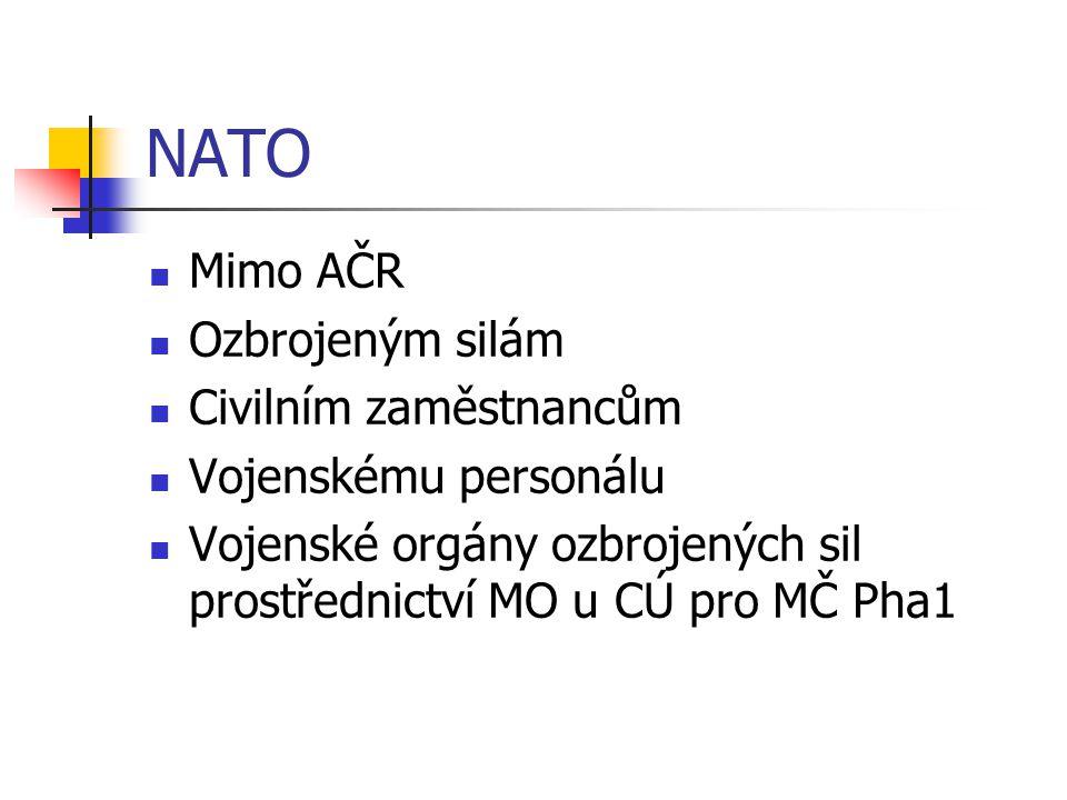 NATO Mimo AČR Ozbrojeným silám Civilním zaměstnancům Vojenskému personálu Vojenské orgány ozbrojených sil prostřednictví MO u CÚ pro MČ Pha1