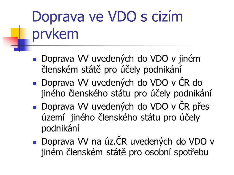 Doprava ve VDO s cizím prvkem Doprava VV uvedených do VDO v jiném členském státě pro účely podnikání Doprava VV uvedených do VDO v ČR do jiného člensk