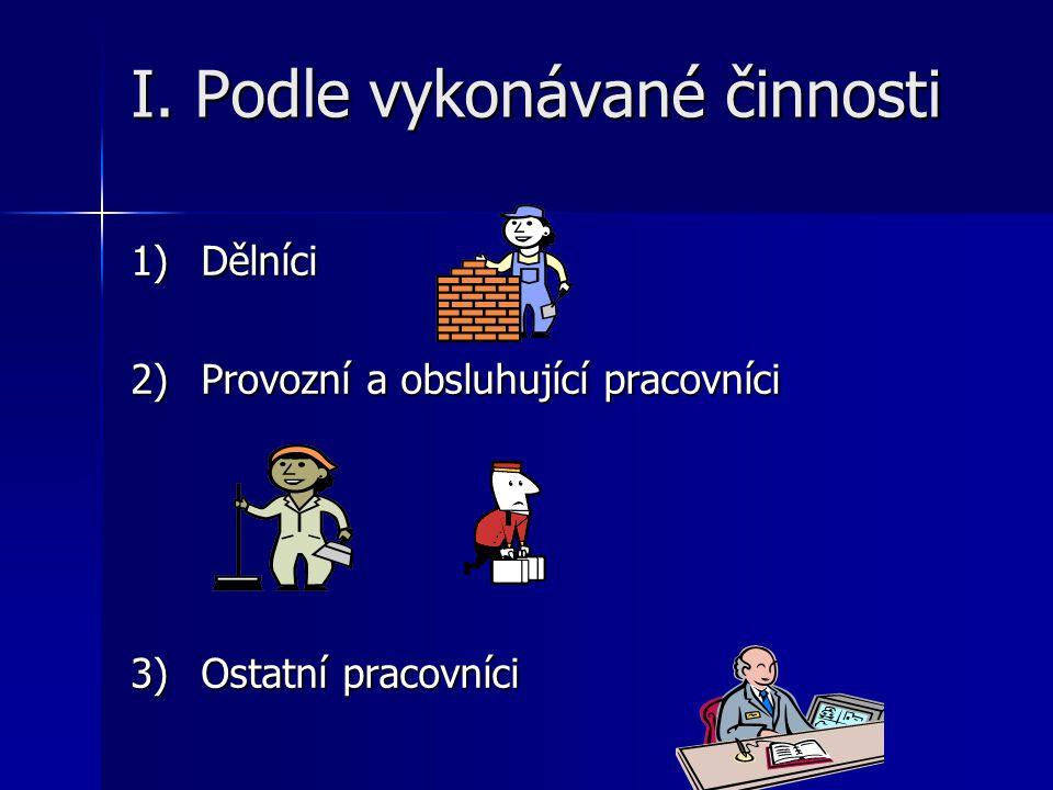 I. Podle vykonávané činnosti 1) Dělníci 2)Provozní a obsluhující pracovníci 3) Ostatní pracovníci