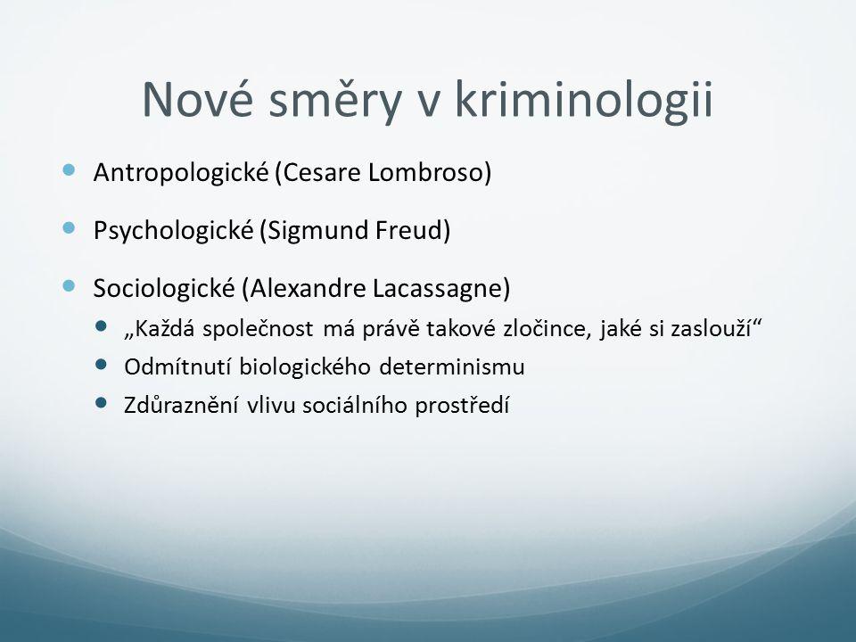 """Nové směry v kriminologii Antropologické (Cesare Lombroso) Psychologické (Sigmund Freud) Sociologické (Alexandre Lacassagne) """"Každá společnost má práv"""