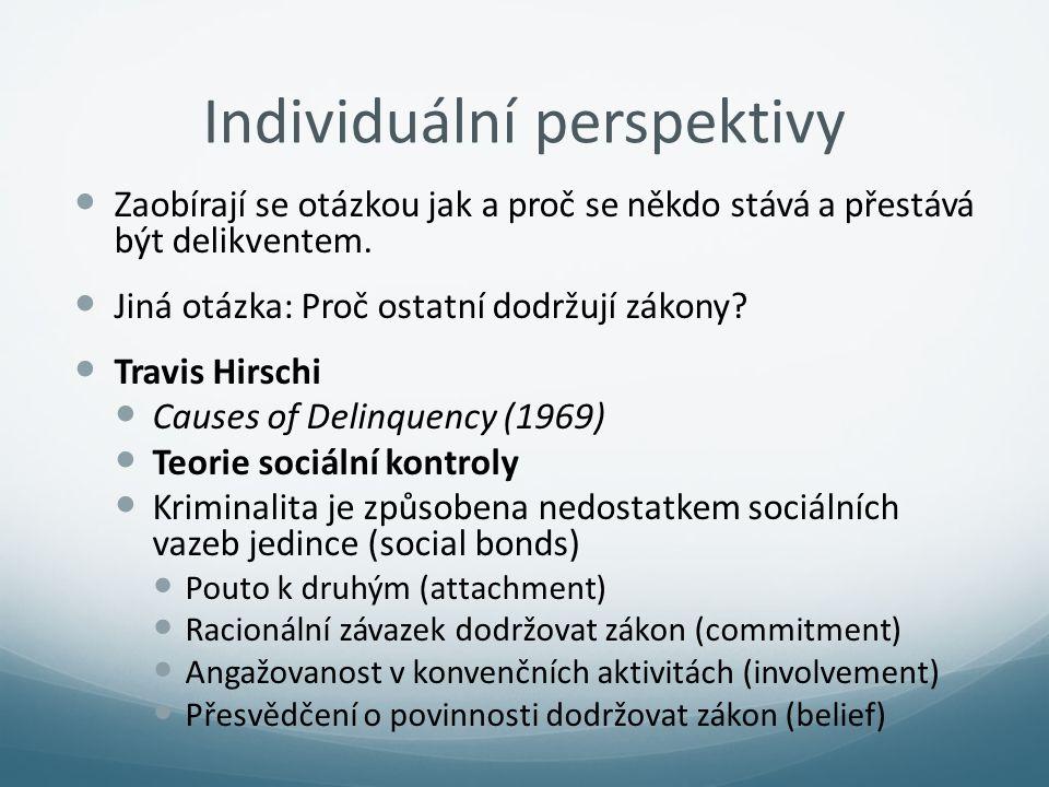 Individuální perspektivy Zaobírají se otázkou jak a proč se někdo stává a přestává být delikventem. Jiná otázka: Proč ostatní dodržují zákony? Travis