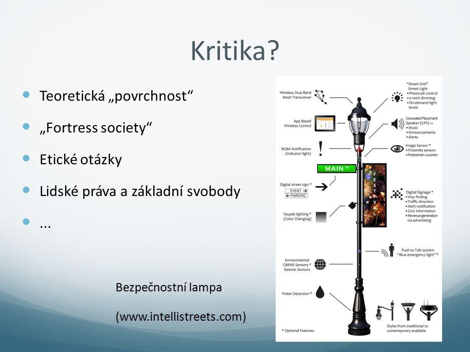 """Kritika? Teoretická """"povrchnost"""" """"Fortress society"""" Etické otázky Lidské práva a základní svobody... Bezpečnostní lampa (www.intellistreets.com)"""