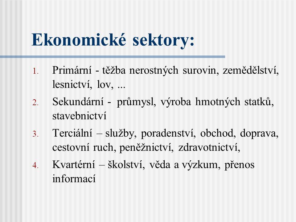 Ekonomické sektory: 1.Primární - těžba nerostných surovin, zemědělství, lesnictví, lov,...