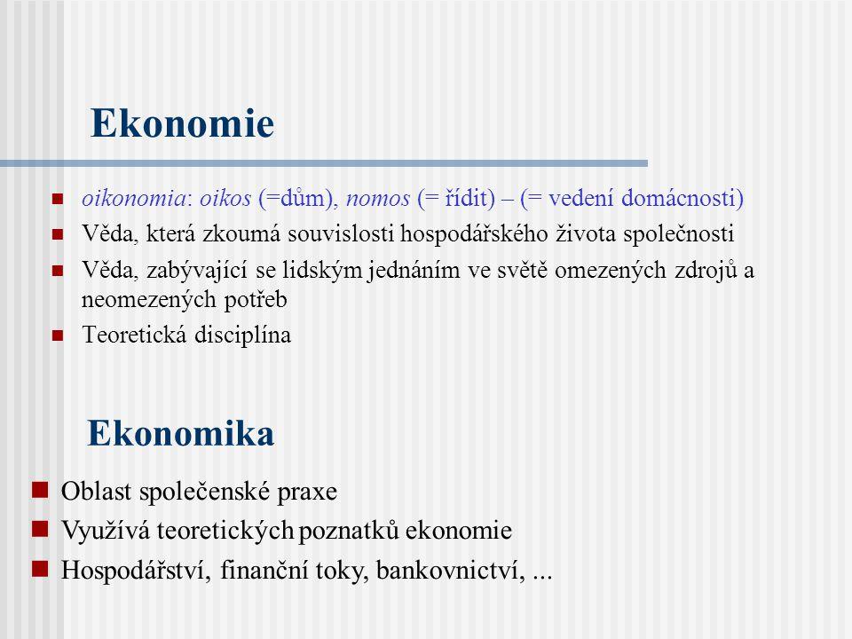 Ekonomie oikonomia: oikos (=dům), nomos (= řídit) – (= vedení domácnosti) Věda, která zkoumá souvislosti hospodářského života společnosti Věda, zabývající se lidským jednáním ve světě omezených zdrojů a neomezených potřeb Teoretická disciplína Ekonomika Oblast společenské praxe Využívá teoretických poznatků ekonomie Hospodářství, finanční toky, bankovnictví,...