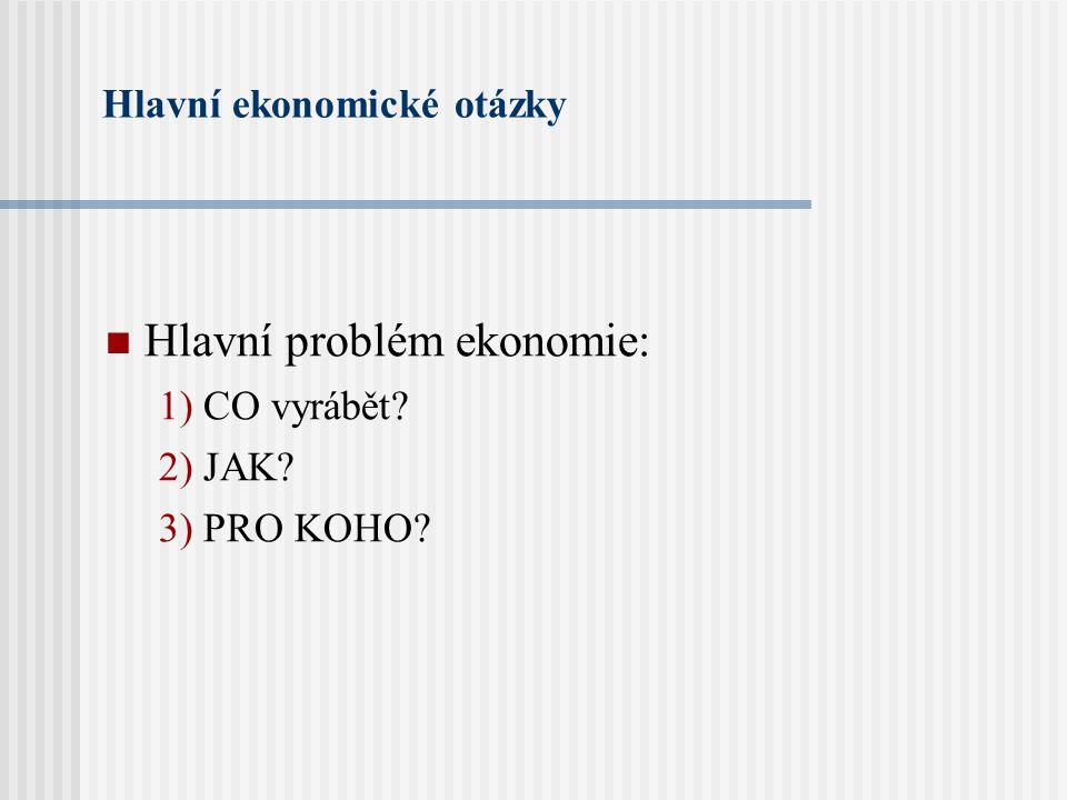 Hlavní ekonomické otázky Hlavní problém ekonomie: 1) CO vyrábět? 2) JAK? 3) PRO KOHO?