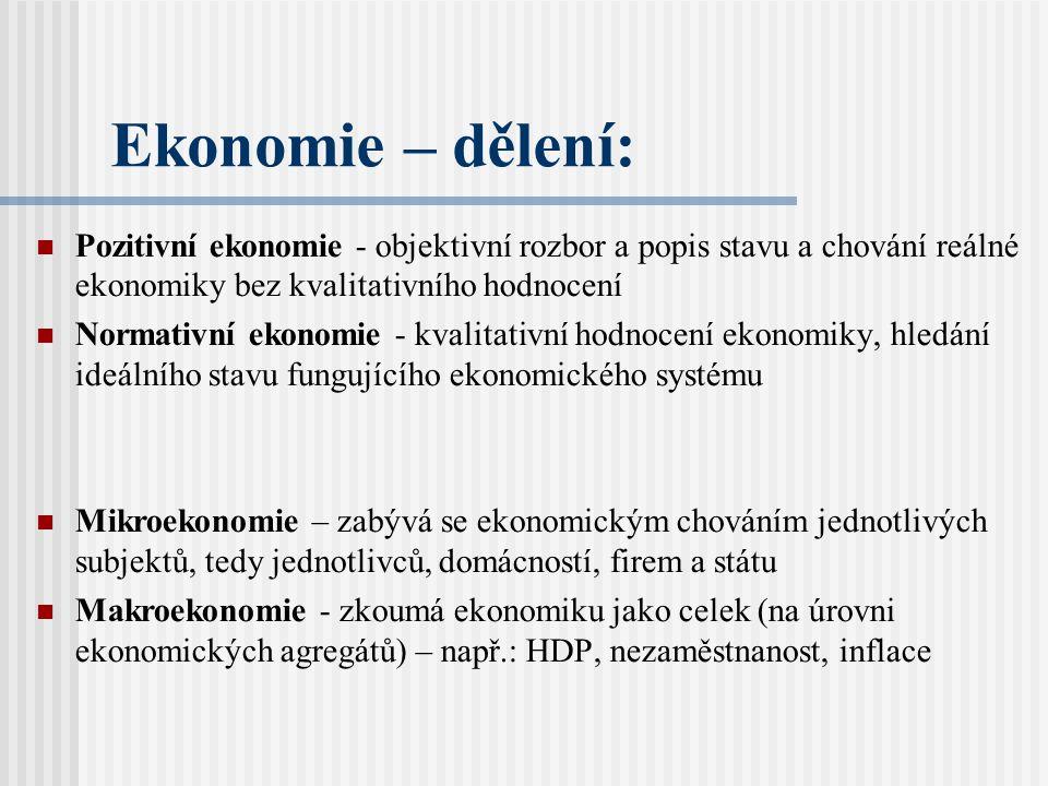 Ekonomie – dělení: Pozitivní ekonomie - objektivní rozbor a popis stavu a chování reálné ekonomiky bez kvalitativního hodnocení Normativní ekonomie - kvalitativní hodnocení ekonomiky, hledání ideálního stavu fungujícího ekonomického systému Mikroekonomie – zabývá se ekonomickým chováním jednotlivých subjektů, tedy jednotlivců, domácností, firem a státu Makroekonomie - zkoumá ekonomiku jako celek (na úrovni ekonomických agregátů) – např.: HDP, nezaměstnanost, inflace