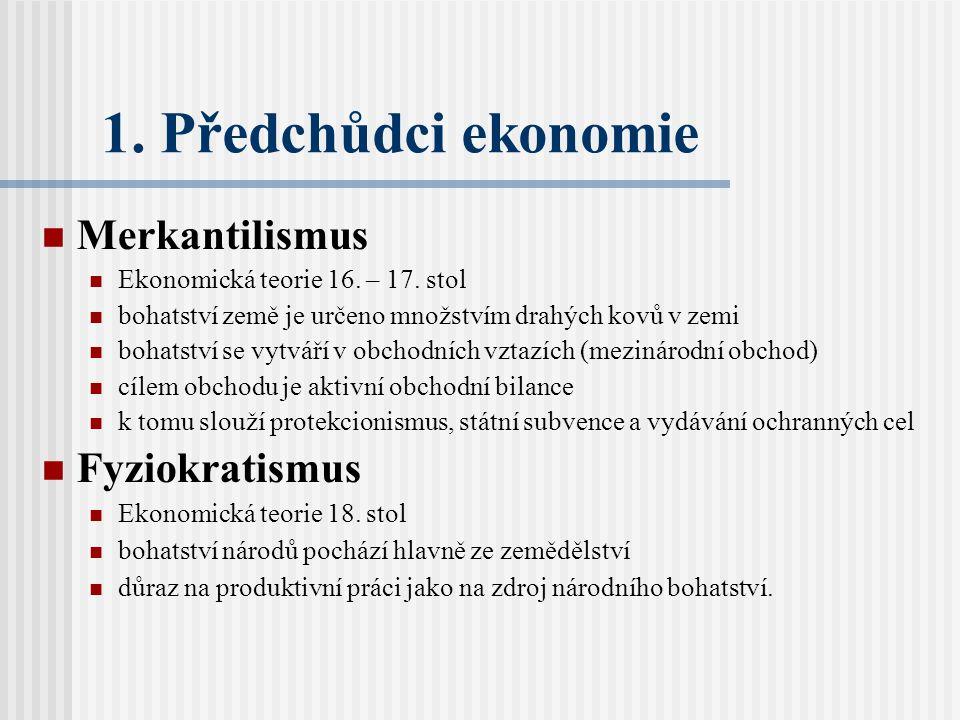 1.Předchůdci ekonomie Merkantilismus Ekonomická teorie 16.