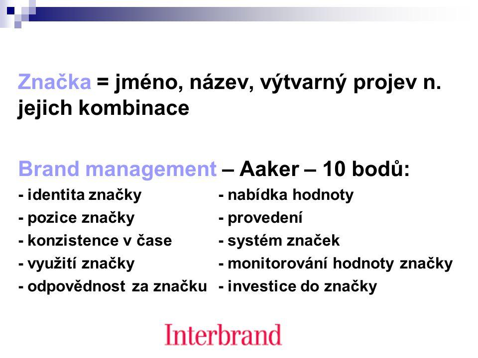 Značka = jméno, název, výtvarný projev n. jejich kombinace Brand management – Aaker – 10 bodů: - identita značky - nabídka hodnoty - pozice značky - p