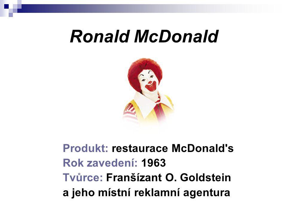 Ronald McDonald Produkt: restaurace McDonald's Rok zavedení: 1963 Tvůrce: Franšízant O. Goldstein a jeho místní reklamní agentura