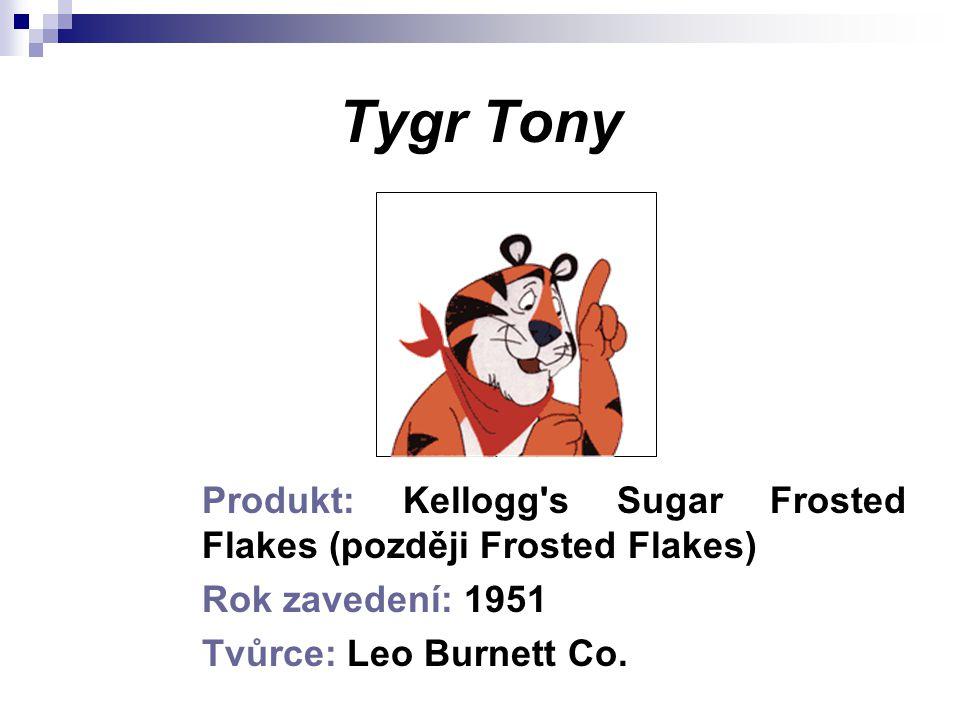 Tygr Tony Produkt: Kellogg's Sugar Frosted Flakes (později Frosted Flakes) Rok zavedení: 1951 Tvůrce: Leo Burnett Co.