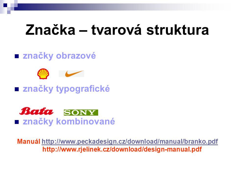 Značka – tvarová struktura značky obrazové značky typografické značky kombinované Manuál http://www.peckadesign.cz/download/manual/branko.pdfhttp://www.peckadesign.cz/download/manual/branko.pdf http://www.rjelinek.cz/download/design-manual.pdf