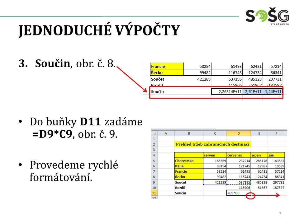 JEDNODUCHÉ VÝPOČTY 3.Součin, obr. č. 8. Do buňky D11 zadáme =D9*C9, obr. č. 9. Provedeme rychlé formátování. 7