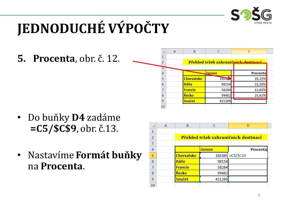JEDNODUCHÉ VÝPOČTY 5.Procenta, obr. č. 12. Do buňky D4 zadáme =C5/$C$9, obr. č.13. Nastavíme Formát buňky na Procenta. 9