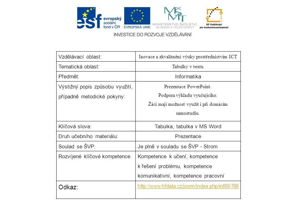 Vzdělávací oblast: Inovace a zkvalitnění výuky prostřednictvím ICT Tematická oblast: Tabulky v textu Předmět:Informatika Výstižný popis způsobu využití, případně metodické pokyny: Prezentace PowerPoint.