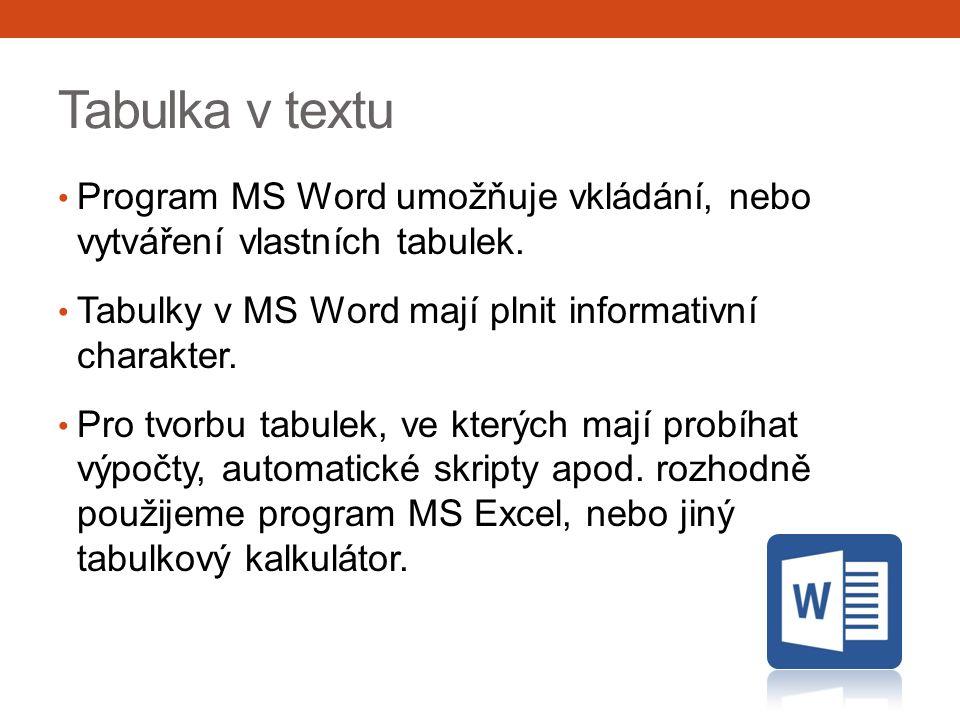 Tabulka v textu Program MS Word umožňuje vkládání, nebo vytváření vlastních tabulek.