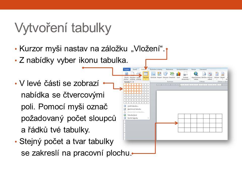 """Vytvoření tabulky Kurzor myši nastav na záložku """"Vložení"""". Z nabídky vyber ikonu tabulka. V levé části se zobrazí nabídka se čtvercovými poli. Pomocí"""
