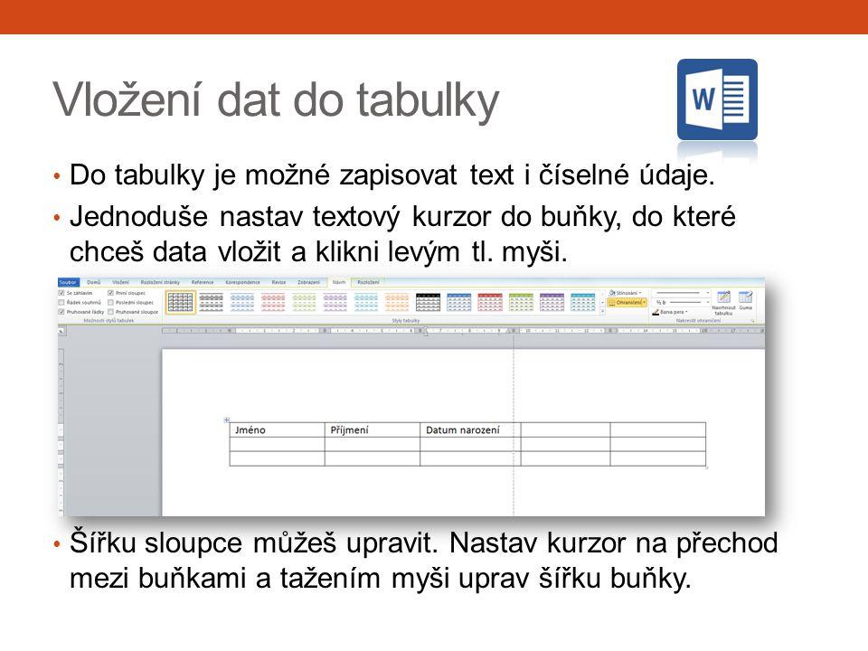 Vložení dat do tabulky Do tabulky je možné zapisovat text i číselné údaje. Jednoduše nastav textový kurzor do buňky, do které chceš data vložit a klik