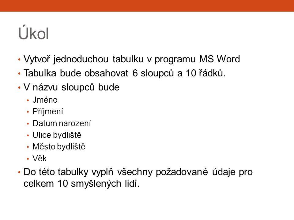 Úkol Vytvoř jednoduchou tabulku v programu MS Word Tabulka bude obsahovat 6 sloupců a 10 řádků. V názvu sloupců bude Jméno Příjmení Datum narození Uli