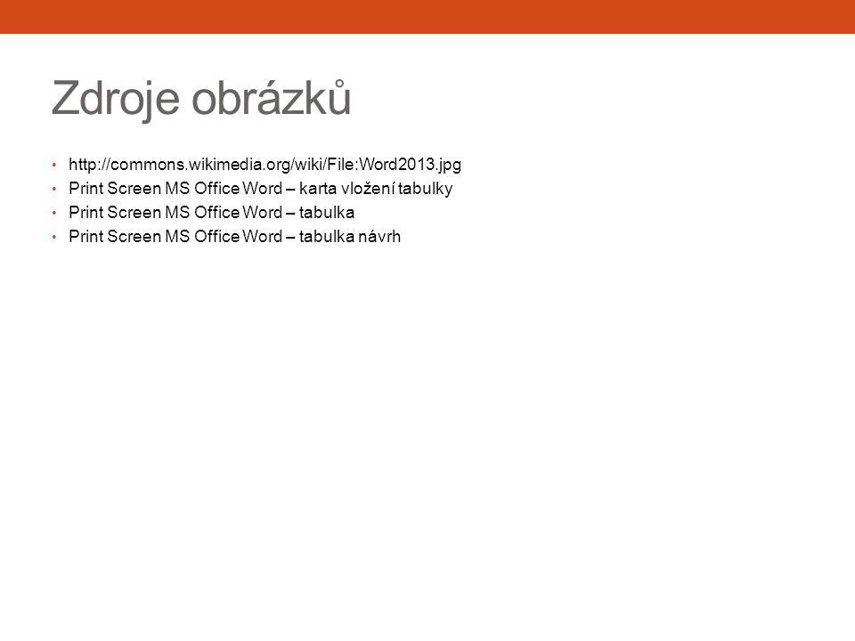Zdroje obrázků http://commons.wikimedia.org/wiki/File:Word2013.jpg Print Screen MS Office Word – karta vložení tabulky Print Screen MS Office Word – tabulka Print Screen MS Office Word – tabulka návrh