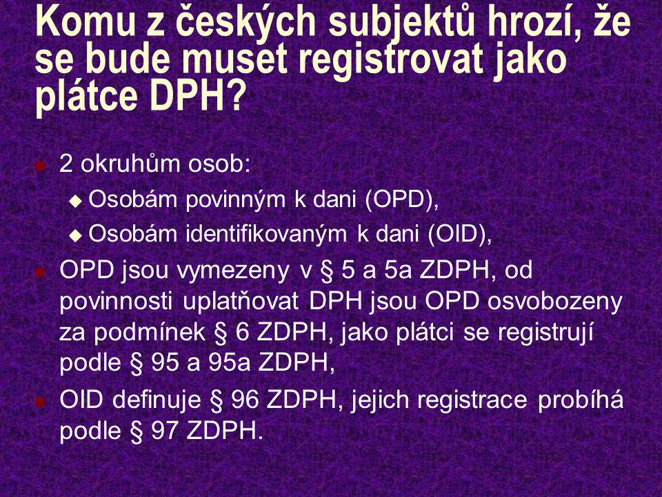 Registrace OID (§ 97 ZDPH) Osoba identifikovaná k dani je povinna předložit místně příslušnému správci daně přihlášku k registraci do 15 dnů ode dne překročení částky 326 000 Kč.