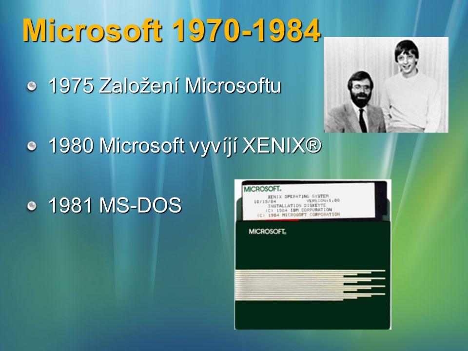 Microsoft 1985 – 1993 1985 Microsoft Windows 1.0 (1987 Microsoft/IBM OS/2) 1990 Microsoft Windows 3.x 1993 Windows NT 3.1