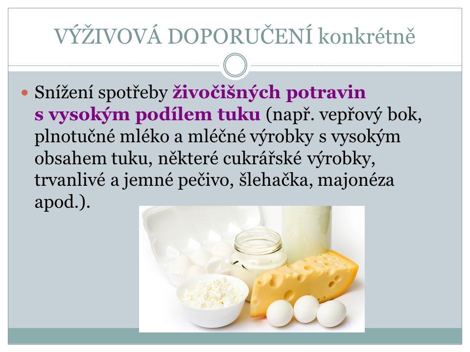 VÝŽIVOVÁ DOPORUČENÍ konkrétně Snížení spotřeby živočišných potravin s vysokým podílem tuku (např. vepřový bok, plnotučné mléko a mléčné výrobky s vyso