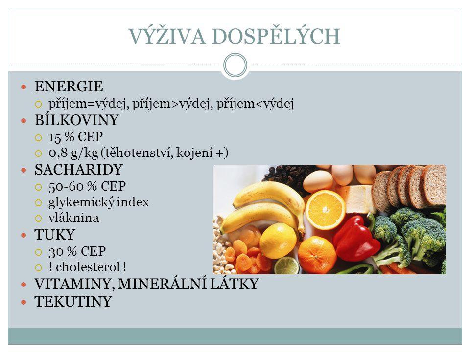 VÝŽIVOVÁ DOPORUČENÍ pro obyvatelstvo ČR Společnost pro výživu, 2012 Příjem celkové energetické dávky v souvislosti s pohybovým režimem tak, aby bylo dosaženo rovnováhy mezi jejím příjmem a výdejem pro udržení optimální tělesné hmotnosti v rozmezí BMI 18-25 u dospělých.