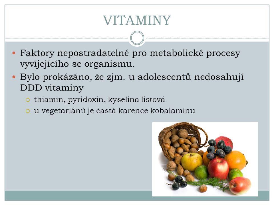 VITAMINY Faktory nepostradatelné pro metabolické procesy vyvíjejícího se organismu. Bylo prokázáno, že zjm. u adolescentů nedosahují DDD vitaminy  th