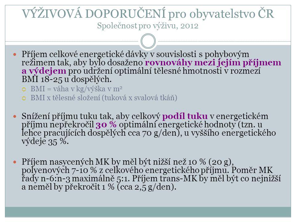 VÝŽIVOVÁ DOPORUČENÍ pro obyvatelstvo ČR Společnost pro výživu, 2012 Příjem celkové energetické dávky v souvislosti s pohybovým režimem tak, aby bylo d