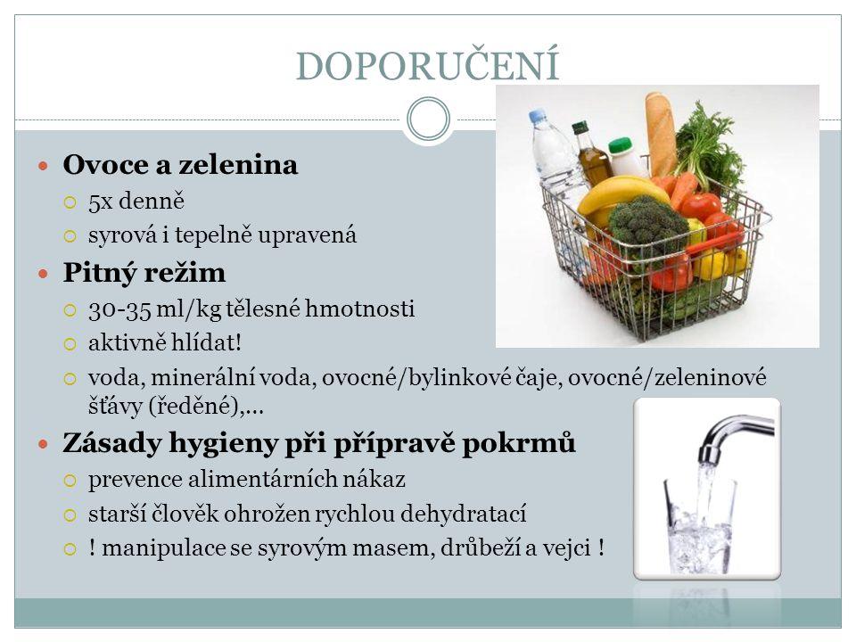 DOPORUČENÍ Ovoce a zelenina  5x denně  syrová i tepelně upravená Pitný režim  30-35 ml/kg tělesné hmotnosti  aktivně hlídat!  voda, minerální vod