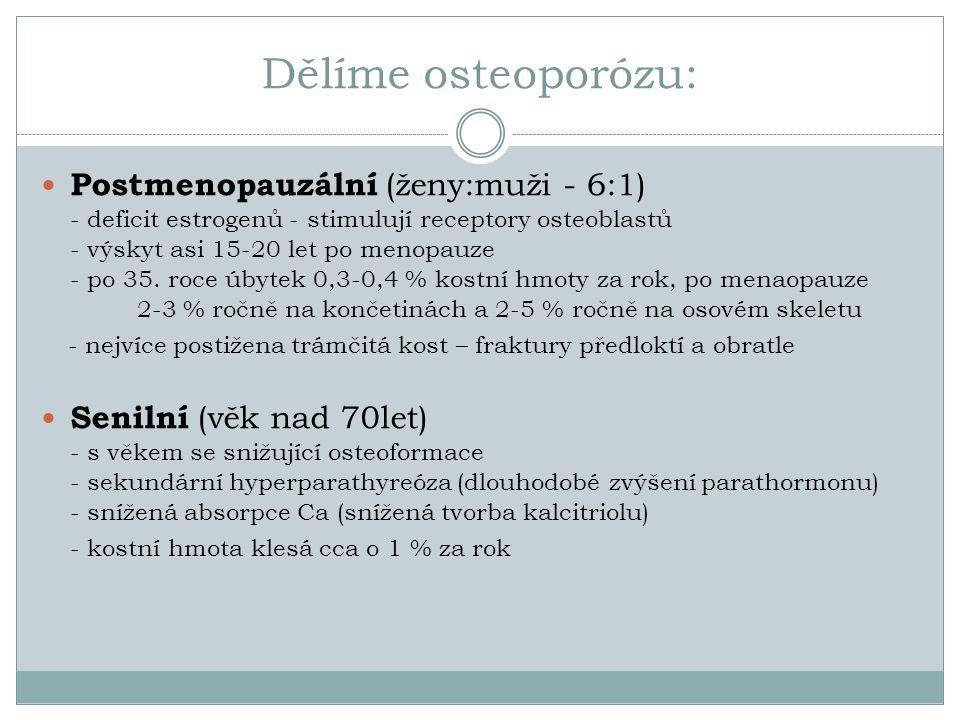 Dělíme osteoporózu: Postmenopauzální (ženy:muži - 6:1) - deficit estrogenů - stimulují receptory osteoblastů - výskyt asi 15-20 let po menopauze - po