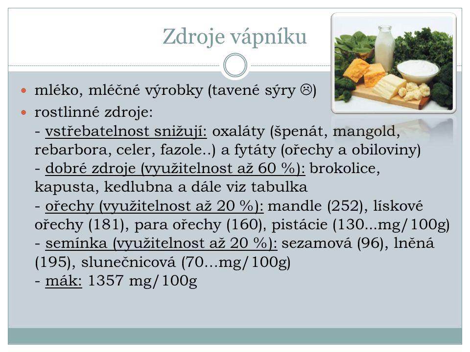 Zdroje vápníku mléko, mléčné výrobky (tavené sýry  ) rostlinné zdroje: - vstřebatelnost snižují: oxaláty (špenát, mangold, rebarbora, celer, fazole..