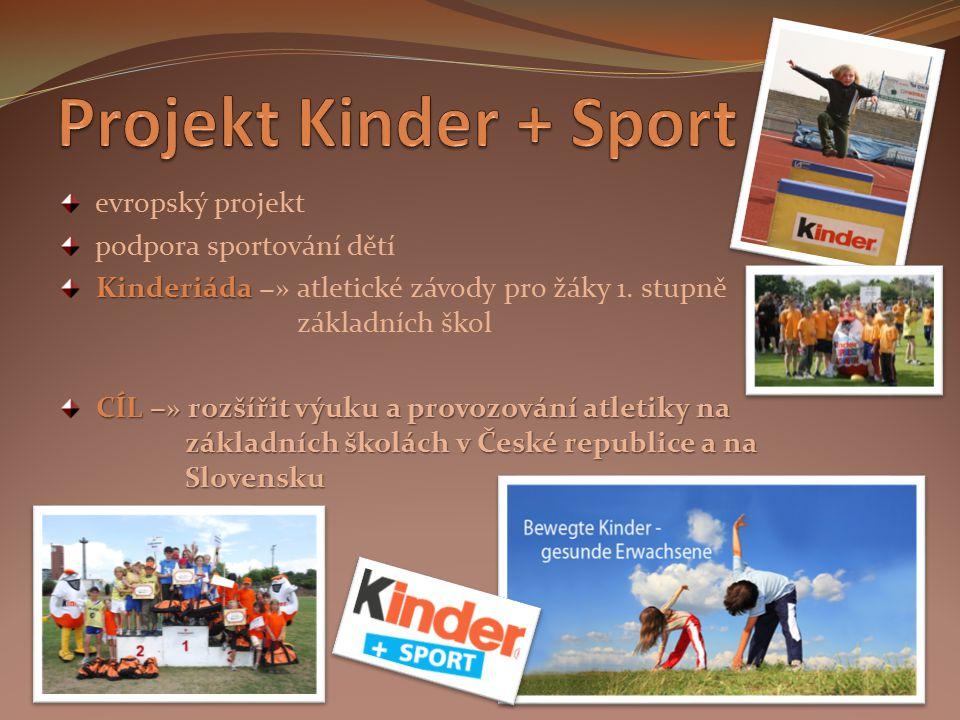 evropský projekt podpora sportování dětí Kinderiáda Kinderiáda −» atletické závody pro žáky 1. stupně základních škol CÍL −» rozšířit výuku a provozov