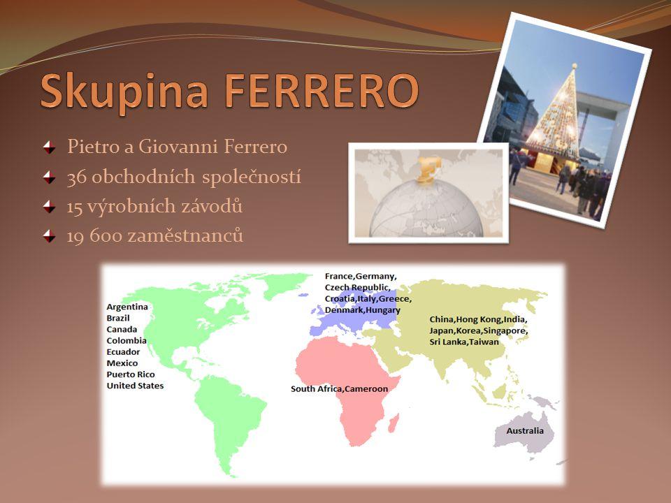 Pietro a Giovanni Ferrero 36 obchodních společností 15 výrobních závodů 19 600 zaměstnanců
