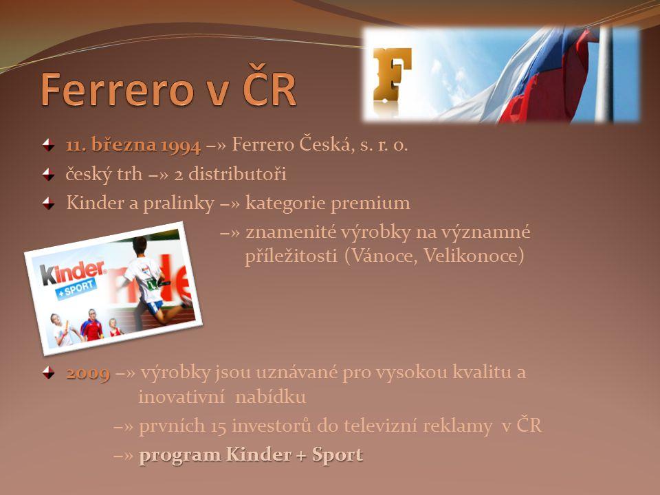 11. března 1994 11. března 1994 −» Ferrero Česká, s. r. o. český trh −» 2 distributoři Kinder a pralinky −» kategorie premium −» znamenité výrobky na