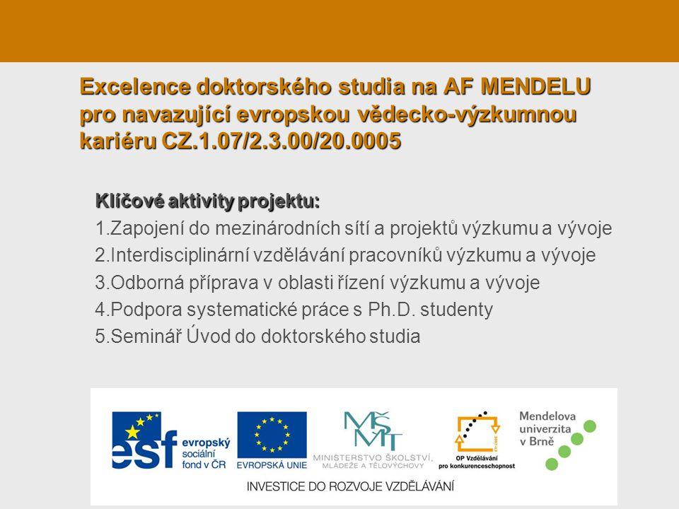 Excelence doktorského studia na AF MENDELU pro navazující evropskou vědecko-výzkumnou kariéru CZ.1.07/2.3.00/20.0005 Klíčové aktivity projektu: 1.Zapojení do mezinárodních sítí a projektů výzkumu a vývoje 2.Interdisciplinární vzdělávání pracovníků výzkumu a vývoje 3.Odborná příprava v oblasti řízení výzkumu a vývoje 4.Podpora systematické práce s Ph.D.