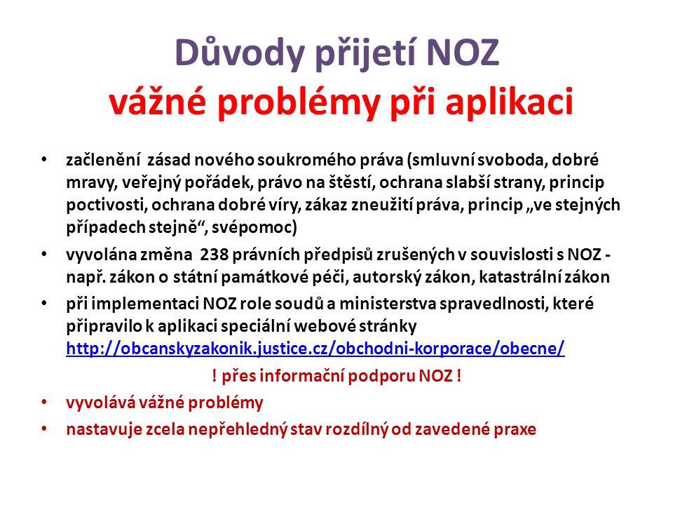 """Důvody přijetí NOZ vážné problémy při aplikaci začlenění zásad nového soukromého práva (smluvní svoboda, dobré mravy, veřejný pořádek, právo na štěstí, ochrana slabší strany, princip poctivosti, ochrana dobré víry, zákaz zneužití práva, princip """"ve stejných případech stejně , svépomoc) vyvolána změna 238 právních předpisů zrušených v souvislosti s NOZ - např."""