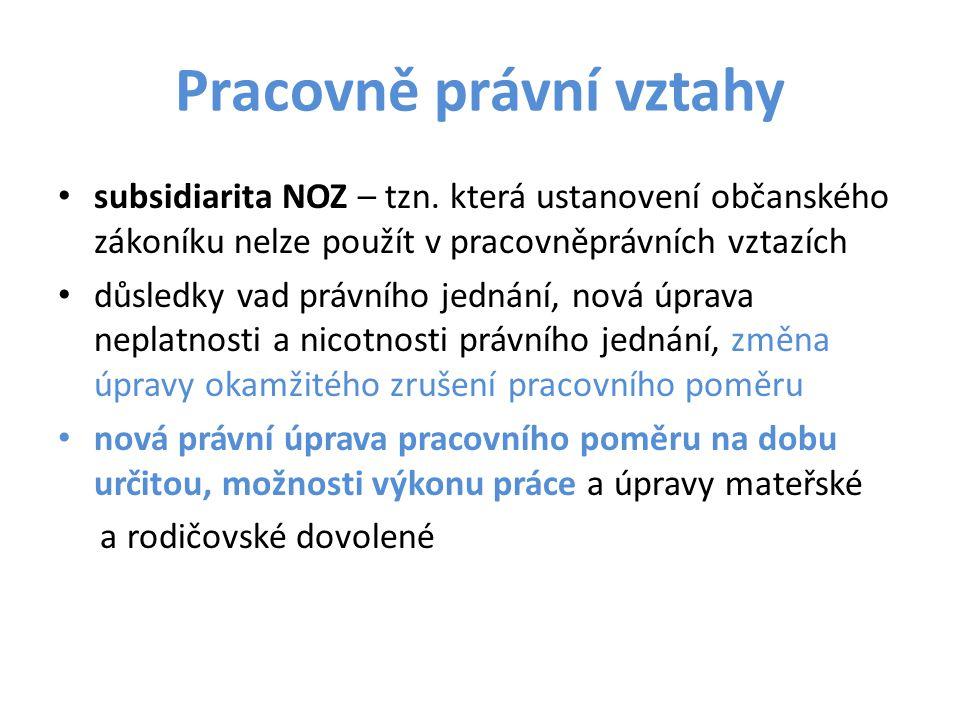 Pracovně právní vztahy subsidiarita NOZ – tzn.