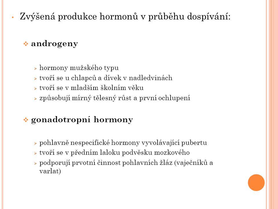 Zvýšená produkce hormonů v průběhu dospívání:  androgeny  hormony mužského typu  tvoří se u chlapců a dívek v nadledvinách  tvoří se v mladším školním věku  způsobují mírný tělesný růst a první ochlupení  gonadotropní hormony  pohlavně nespecifické hormony vyvolávající pubertu  tvoří se v předním laloku podvěsku mozkového  podporují prvotní činnost pohlavních žláz (vaječníků a varlat)