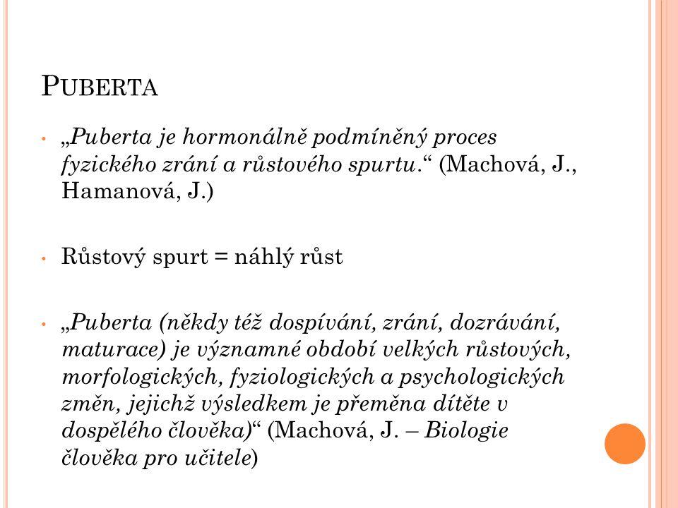 """P UBERTA """" Puberta je hormonálně podmíněný proces fyzického zrání a růstového spurtu."""" (Machová, J., Hamanová, J.) Růstový spurt = náhlý růst """" Pubert"""