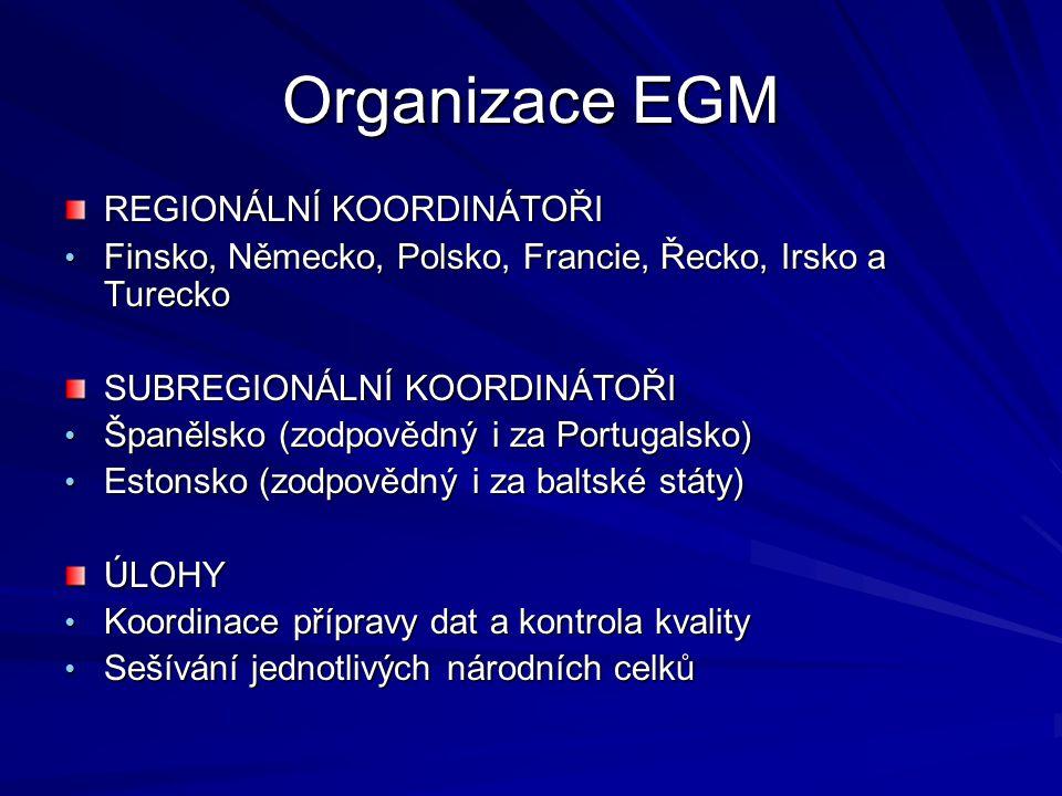 Organizace EGM REGIONÁLNÍ KOORDINÁTOŘI Finsko, Německo, Polsko, Francie, Řecko, Irsko a Turecko Finsko, Německo, Polsko, Francie, Řecko, Irsko a Turecko SUBREGIONÁLNÍ KOORDINÁTOŘI Španělsko (zodpovědný i za Portugalsko) Španělsko (zodpovědný i za Portugalsko) Estonsko (zodpovědný i za baltské státy) Estonsko (zodpovědný i za baltské státy)ÚLOHY Koordinace přípravy dat a kontrola kvality Koordinace přípravy dat a kontrola kvality Sešívání jednotlivých národních celků Sešívání jednotlivých národních celků