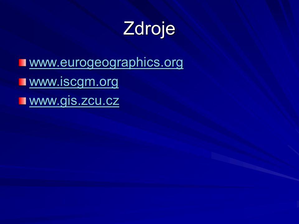 Zdroje www.eurogeographics.org www.iscgm.org www.gis.zcu.cz