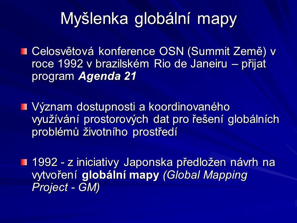 Global Mapping Project Zajistit na základě široké mezinárodní spolupráce snadný a otevřený přístup k aktuálním prostorovým (geografickým) digitálním datům globálního měřítka, nezbytným pro analýzu a řešení globálních environmentálních problémů 1994 – v Japonsku zpracován první pracovní návrh struktury globální mapy Únor 1996 - byl oficiálně ustaven Mezinárodní výbor pro globální mapování (International Steering Committee for Global Mapping – ISCGM).
