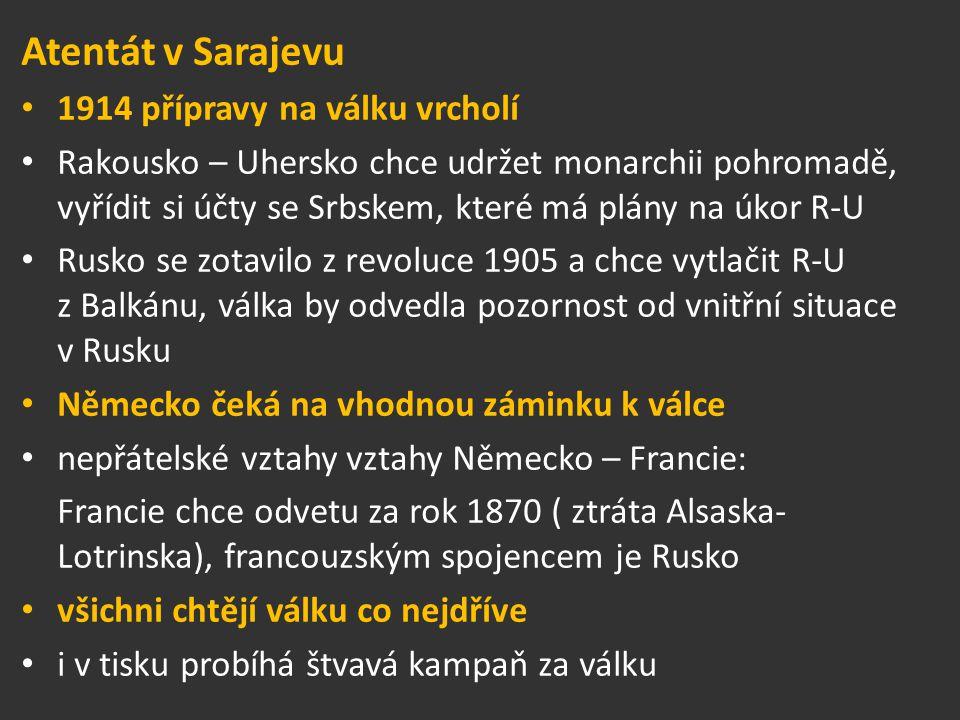 výstřely v Sarajevu záminkou k válce - 28.června 1914 atentát na Ferdinanda ď Este (následníka trůnu v R – U a jeho manželku Žofii Chotkovou) Rakousko - Uhersko předložilo Srbsku ultimátum – žádalo o omluvu a vyšetření události Srbsko přijalo přesto Rakousko – Uhersko 28.