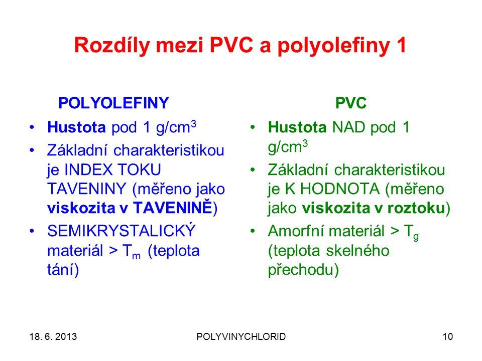 Rozdíly mezi PVC a polyolefiny 1 POLYOLEFINY Hustota pod 1 g/cm 3 Základní charakteristikou je INDEX TOKU TAVENINY (měřeno jako viskozita v TAVENINĚ) SEMIKRYSTALICKÝ materiál > T m (teplota tání) PVC Hustota NAD pod 1 g/cm 3 Základní charakteristikou je K HODNOTA (měřeno jako viskozita v roztoku) Amorfní materiál > T g (teplota skelného přechodu) 18.