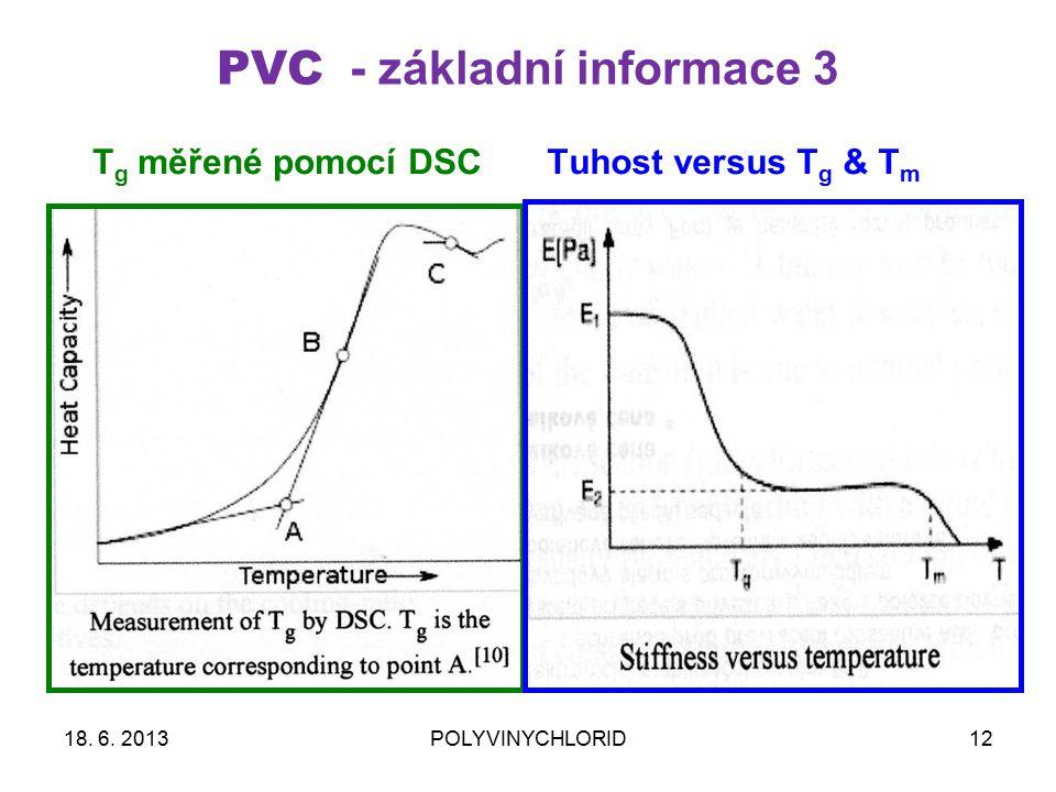 PVC - základní informace 3 12 Tuhost versus T g & T m T g měřené pomocí DSC 18.