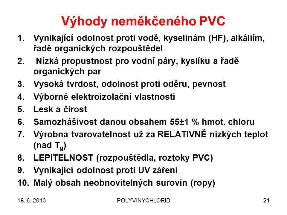 Výhody neměkčeného PVC 21 1.Vynikající odolnost proti vodě, kyselinám (HF), alkáliím, řadě organických rozpouštědel 2. Nízká propustnost pro vodní pár